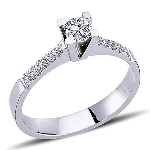 0,30 quilates diamante Solitär anillo de solicitud anillo en 14 quilates oro blanco