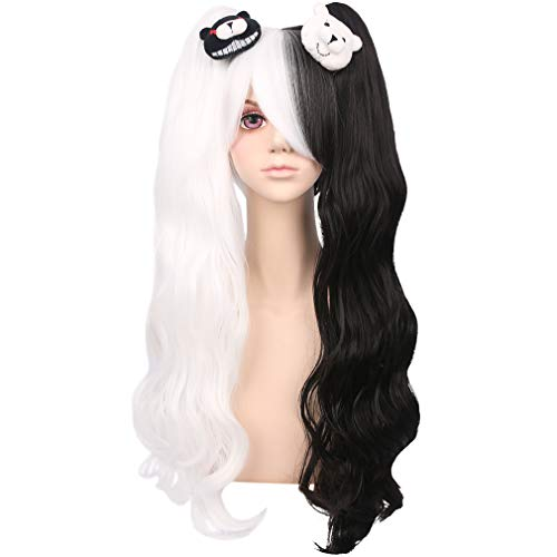 YOGFIT Long Wavy Half Black and Half White Wig with Bangs and Two Long Ponytails Synthetic Wig for Cosplay Halloween Costume