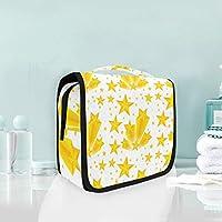 白黄色の星アートぶら下げ折りたたみトイレタリー化粧品化粧バッグ旅行キットオーガナイザー収納ウォッシュバッグケース用女性女の子浴室