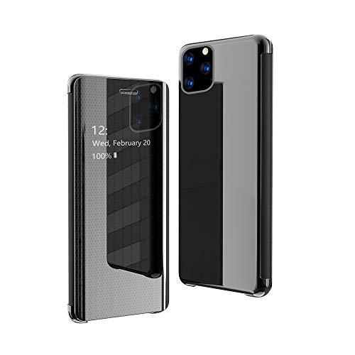 CrazyLemon Hülle für iPhone 12 Pro Max, Dünn Leicht Flip Sichtbar Spiegel Schutzhülle PU Leder + Mikrofaser PC Hybrid Stoßfest Handyhülle - Schwarz
