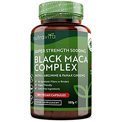 Black Maca Root Complex 5000mg - 180 Vegan Capsules - Super High Strength Black Maca Complex with L-Arginine and Panax Ginseng - 6 Month Supply - Made in The UK by Nutravita