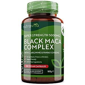 Complejo de Raíz de Maca Negra 5000 mg - 180 cápsulas veganas - Complejo de Maca Negra de Alta Resistencia con L-Arginina y Panax Ginseng - Suministro para 6 meses - Fabricado en UK por Nutravita