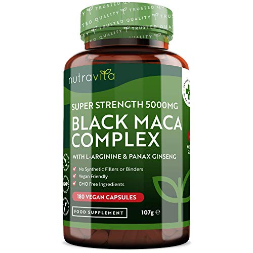 Maca Root Capsules 5000mg – 180 Vegan, Vegetarian Capsules (6 Month Supply) – Not Tablets or Powder – 100% Peruvian Black Maca – with L-Arginine, Panax Ginseng & Black Pepper – Made in UK by Nutravita