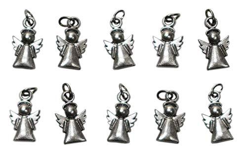 Kleiner Schutzengel Charms - Silber vergoldet Anhänger - DIY Modeschmuck und Gefälligkeiten, Erstkommunion, Sakrament der Firmung, Taufe für Jungen und Mädchen - h 1,7 cm - 10 Stück