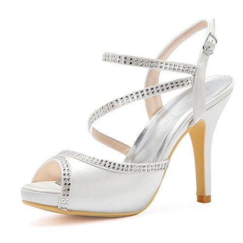 Elegantpark HP1805I Donna Peep Toe Piattaforma Tacco Alto Sandali Strass Cinghie Fibbia Satin Scarpe da Sposa Bianco EU 35