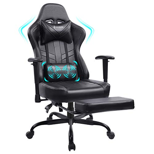 Von racer Massage Gaming Chair Racing Computer Desk Office Chair Swivel Ergonomic Executive Bonded Leather Chair with Headrest Footrest and Adjustable Armrests (Black)