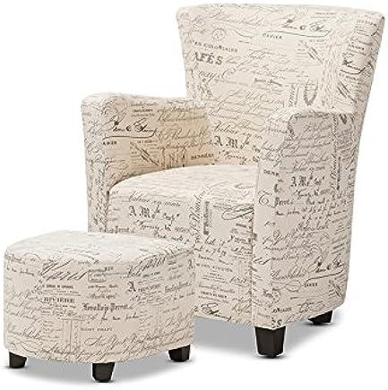 Baxton Studio Benson French Script Patterned Fabric Club Chair Ottoman Set