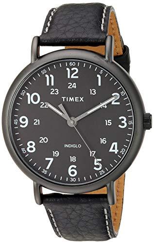 Timex TW2T73400 Men's Weekender XL 43mm 2-piece Black Leather Strap Watch