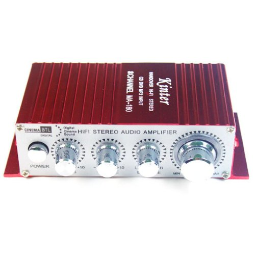 Kinter MA-180 - Amplificador híbrido (100 dB, 20 W, USB), Color Rojo
