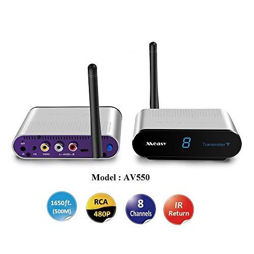 MEASY AV550 5.8 GHz AV inalámbrico de Audio y Video emisor de transmisor y Receptor con Control Remoto IR 1000feet 300M de Alcance RCA-550 para DVD/DVR / IPTV/CCTV