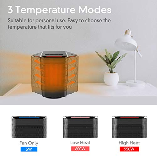 AUZKIN Space Heater, Portable Ceramic Oscillating Heater with Over-Heat Protection and Tip-Over Protection, 1s Quick Heating, Small and Quiet, Suitable for Office Home Personal Use Black