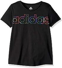 adidas Girls' Big Short Sleeve Scoop Neck Tee T-Shirt, Black Linear Ombre, Medium