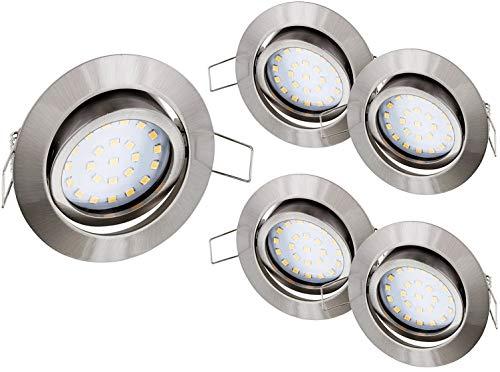 5 stuks - Ultraplatte LED-spot inbouwspot roestvrij staal 230 V ijzergeborsteld zwenkbaar - 4W 330lm 120° - warm wit (2900 K)