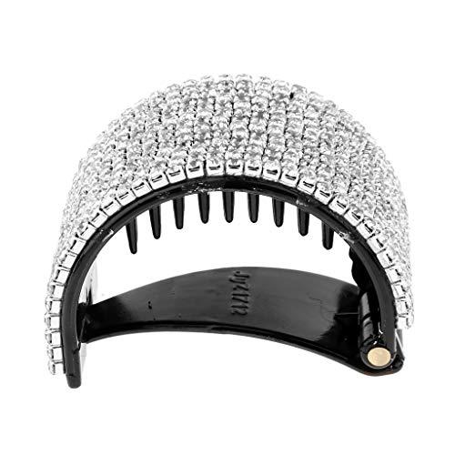 Sharplace Pinces à Cheveux Barette à Cheveux Strass Bling Grand Support de Queue de Cheval - Noir, 5.5x4cm