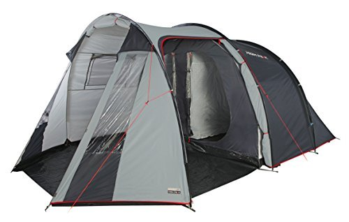High Peak Ancona 5 Tunnel Tent - Light Grey/Dark Grey/Red, 465 x 300 x 200 cm by High Peak