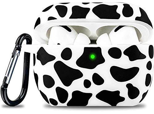 Airpod Pro Case Soft Silicone - LitoDream Case Cover Flexible Skin for Apple AirPods Pro Charging Case Cute Women Girls Protective Skin with Keychain (Cow)
