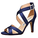 ElegantPark HP1705 Women High Heel Shoes Open Toe Cross Strap Satin Wedding Dress Sandals Navy Blue US 7