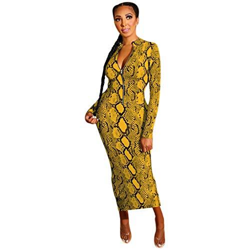 jfhrfged Mode Féminine ManchesLongues Imprimé Serpent Zipper Wear sur Les Deux Côtés de la Robe Moulante (XL, Jaune)