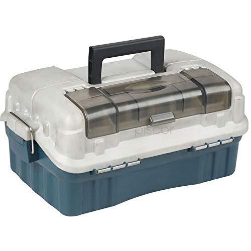 Lineaeffe Mallette 2 Plateaux 39 x 25 x 16 cm Boîte de Pêche Msllette Rangement Accessoire Leurre Hameçon Tackle Box Plastique