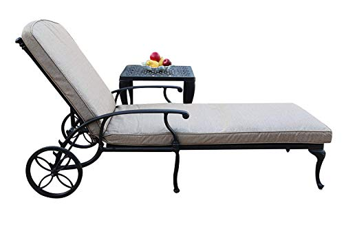 CBM Patio Sienna Collection Cast Aluminum Powder Coated Chaise Lounge with Lite Brown Seat Cushion CBM1290 SA01