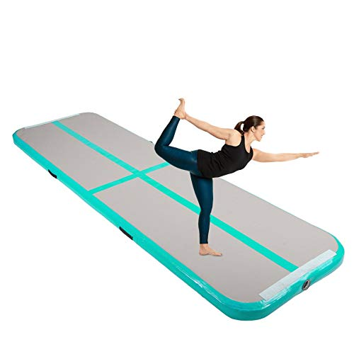 Y-NOT Gymnastikmatte 3M/4M/5M/6M Aufblasbar Tumbling Matte Trainingsmatte Turnmatte Bodenmatte Inflatable Yoga Gymnastics Fitness Mat (Grün, 400x100x10 cm)