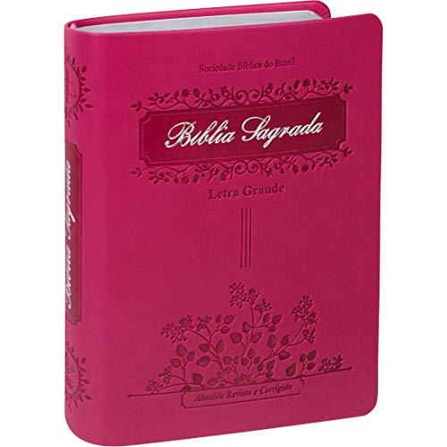 Bíblia Sagrada Letra Grande com índice digital - Capa couro sintético Pink: Almeida Revista e Corrigida (ARC)