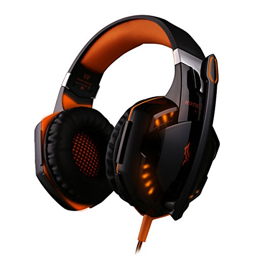 Kotion EACH G2000 Deep Bass Over-Ear Game Gaming Headset Earphone Headband Stereo Headphones with Mic LED Light for PC Gamer (Black-Orange)