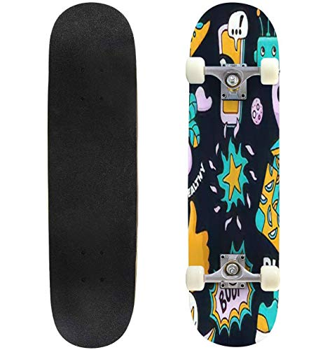 """Bright set from different modern trend icons Seamless dark background Skateboard Complete Longboard 8 Layers Maple Decks Double Kick Concave Skate Board, Standard Tricks Skateboards Outdoors, 31""""x8"""""""