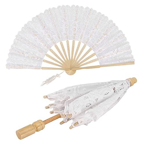 Alvinlite Ventilador de Abanico de Encaje Blanco Blanco Novia Novia Novia Encaje Blanco Encaje Paraguas Ventilador Madera Boda decoración de Baile