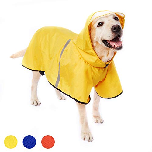 Dog Raincoat with Adjustable Belly Strap and Leash Hole - Hoodie with Reflective Strip - Waterproof Slicker Lightweight Breathable Rain Poncho Jacket for Medium Large Dogs - Easy to Wear, Yellow 3XL