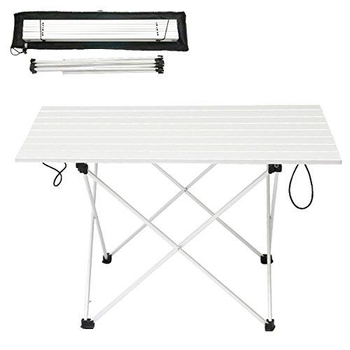 LUUFAN Table de Camping Pliante ultralégère en Aluminium, Table Roll-Up Portable avec Sac de Transport pour l'extérieur, Camping, Pique-Nique, Plage, pêche, Cuisine (XL-Silver)