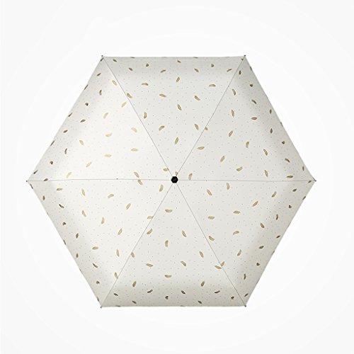 Meng Wei Shop Ultraleichter Sonnenschirm Sonnenschutz Sonnenschirm weiblicher faltender Sonnenschirm Sonnencreme Vinyl Tasche fünffacher Regenschirm (Color : Beige)
