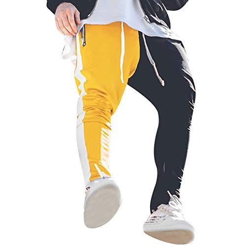 Celucke Herren Jogger Hose Patchwork mit Seitenstreifen Slim Fit, Männer Jogginghose Herbst Winter Sweatpants Mode Freizeithosen