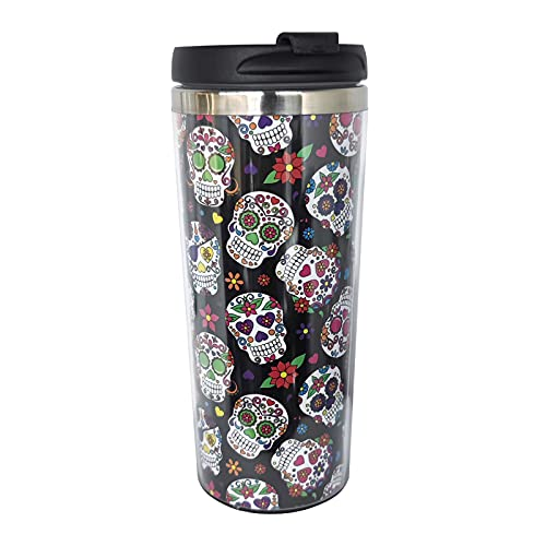 BLUBLU Day of the Dead Sugar Skull Stainless Steel Vacuum Insulated Coffee Tumbler Cup Travel Mug 12oz for Home, Office, Sport, Party, Gifts
