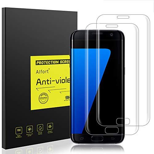 Samsung Galaxy S7 Edge Panzerglas Schutzfolie, Alfort 2 Stück Gehärtetem Glas Panzerfolie Displayschutzfolie für Samsung Galaxy S7 Edge 5.5