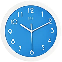 HITO Silent Kids Wall Clock Non Ticking 10 inch Excellent Accurate Sweep Movement Glass Cover, Decorative for Kitchen, Living Room, Bathroom, Bedroom, Office (Blue)