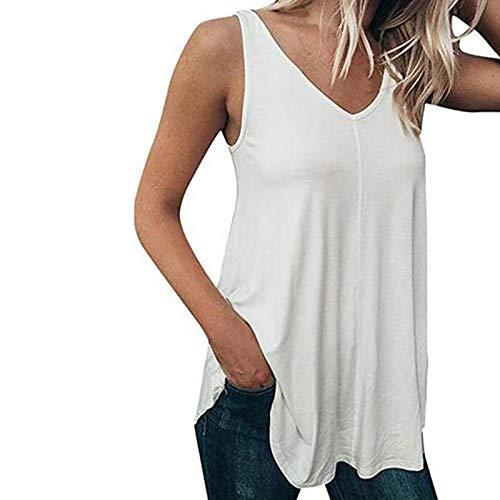 VEMOW Chaleco Camisola sin Mangas para Mujer Cuello en V, Camiseta de Tirantes Informal de Verano Camisetas Suelto Color Sólido Casual Camisa Tank Tops Deportivos