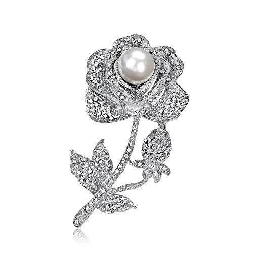 longsheng Broches de perlas de flores rosas vintage elegante broche de perlas broche de cristal flor broche accesorio joyería para niñas mujeres San Valentín regalo de cumpleaños