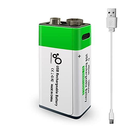 Type-C - Porta-batteria ricaricabile al litio da 9 V, 650 mAh, ad alta capacità, costante, tensione di carica, ricarica rapida, ecologica, utile e riutilizzabile, batteria per microfono