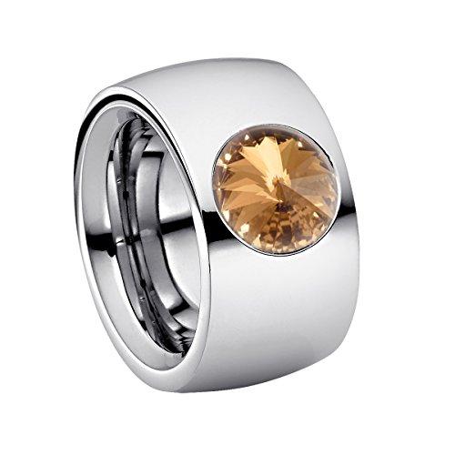 Heideman Ring Damen Coma 14 aus Edelstahl Silber farbend poliert Damenring für Frauen mit Swarovski Stein Kristall Bernstein braun im Fantasie Edelsteinschliff 10mm