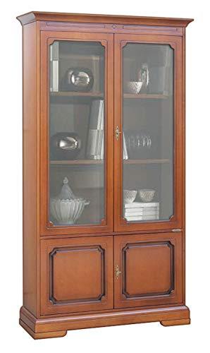 Arteferretto Regalwand Vitrine H 128 cm Holzstruktur, 2 Glastüren 2 Holztüren, Stilmöbel Vitrine Anrichte für Wohnzimmer/Esszimmer, Möbel hergestellt Italien.