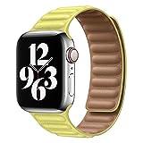 Bracciale con maglie in pelle originale per cinturino Apple Watch serie 6 SE 44mm 40 38mm 42mm Cinturino con cinturino magnetico IWatch 5 4 3-Giallo, 42 mm o 44 mm