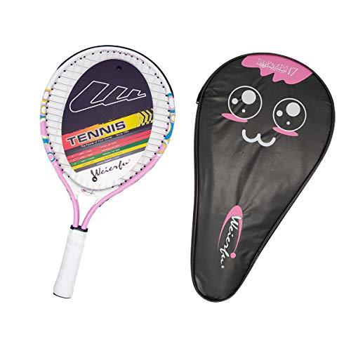 Weierfu Junior Tennis Racket for Kids Toddlers Starter Racket 17 with Cover Bag Light Weight(Strung)(Pink)