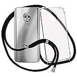 mtb more energy® Handykette kompatibel mit Motorola Moto G6 (5.7'') - schwarz - Smartphone Hülle zum Umhängen - Anti Shock Strong TPU Hülle