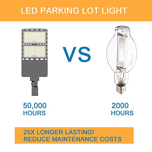 300W LED Parking Lot Light 43,500Lm (145lm/w) 5000K ETL DLC Certified IP65 Waterproof Slip Fitter LED Street Lights Shoebox Pole Lights Outdoor Yard Lighting Fixture