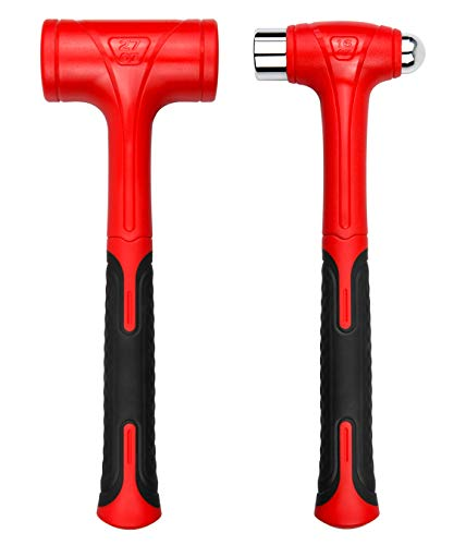 YIYITOOLS Dead Blow Hammer Set,2 Piece/16oz(1LB)Dead Blow Ball Pein Hammer,27oz(1.5LB),Red and Black, Shockproof Design, No ReboundMallet| Unibody Molded | Checkered Grip | Spark and Rebound Resistant