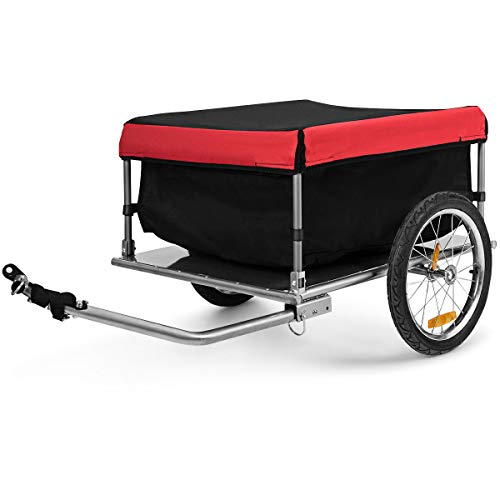 Goplus Cargo Bike Trailer, Folding Frame Quick Release 16'' Wheels Bicycle Cargo Trailer with Removable Cover