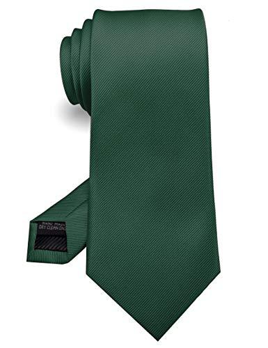 RBOCOTT Silk Dark Green Tie Business Wedding Formal Necktie for Men (Dark Green)