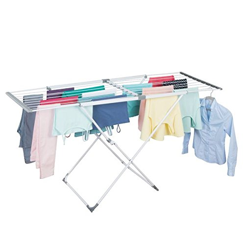 mDesign ausziehbarer Wäscheständer – Flügelwäscheständer mit viel Platz – platzsparender Standtrockner (BHT: 179 x 90 x 56 cm) aus Kunststoff für die Waschküche & Wohnung – weiß