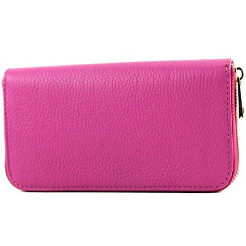 modamoda de - P02 - ital. Damen Portemonnaie Echtleder lang, Farbe:P02 Pink